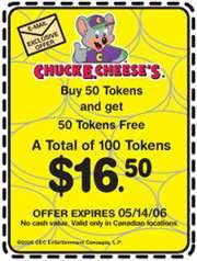 Chuck E Cheese's Coupon Canada