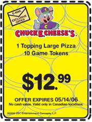 Chuck E Cheese's Canadian Coupons