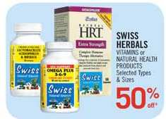 Canadian Flyers: 50% off Swiss Herbals