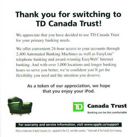 Thank you letter from TD