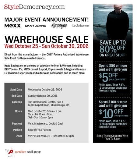 Reminder Mexx DKNY Enyce Liz Claiborne Warehouse Sale