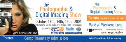 Complimentary Admission to the Photographic and Digital Imaging Show
