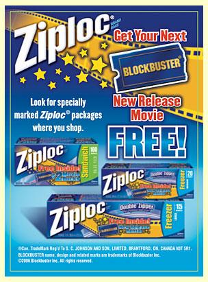 Ziploc - Blockbuster freebie
