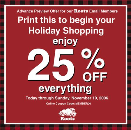 Roots Canada - Coupon