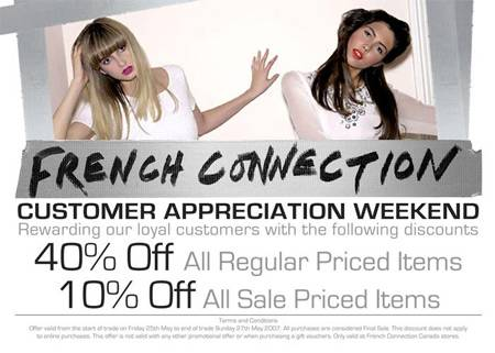 French Connection (FCUK) Canada: Customer Appreciation Weekend