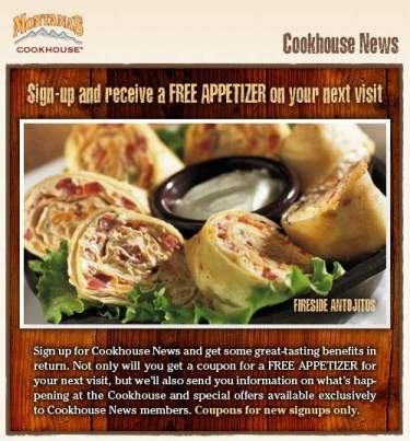 Montana's Cookhouse Canada: Free Appetizer