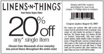 Linens N Things stores are closed. On May 2, , Linens 'n Things filed for Chapter 11 bankruptcy and closed stores You can read the whole article here. However, their online store is open, you can shop Linens N Things here. Meanwhile you can view similar retail stores that may have printable in store coupons. – Bed Bath and Beyond.