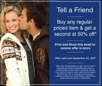 Roots Canada: Buy second item at 50% off