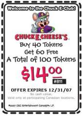 chuck e cheese token coupons 2020