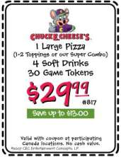 Chuck E Cheese's Canada Coupons - 5 Coupons!