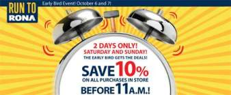 Rona Canada: Extra 10% off this Weekend