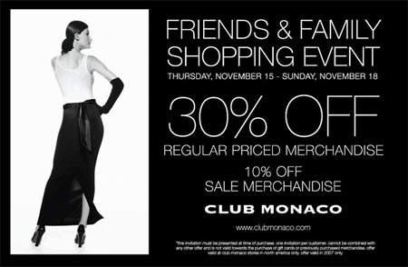 Club Monaco Canada: Friends & Family Shopping Event
