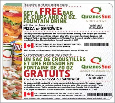 Quiznos Canada: Free Chips & Drink with Purchase Coupon