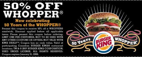 Burger King Canada: 50% off Whopper Coupon