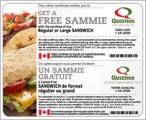 Quiznos Canada - Free Sammie with Sandwich Purchase