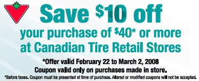 Canadian Tire Coupon: $10 off $40