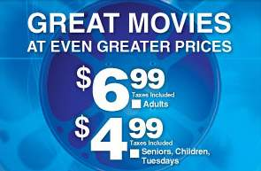 Cineplex Cheap Tuesdays ($5)