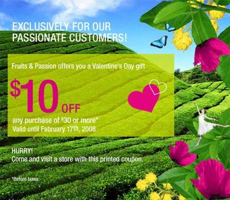 Valentine's Day Canada: Fruits & Passion $10 off $30