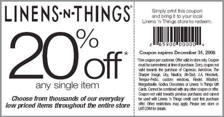 Linens-N-Things Canada: 20% off Coupon
