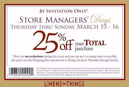 Linens-N-Things Canada 25% off - Store Managers' Days