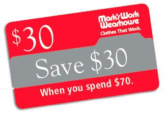 Canadian Coupons: Mark's Work Wearhouse $30 off $70