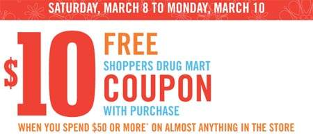Shoppers Drug Mart: $10 Gift Card with $50 Purchase