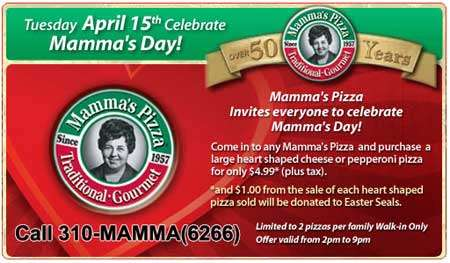 Mamma's Pizza - Large Heart Shaped Pizza $4.99
