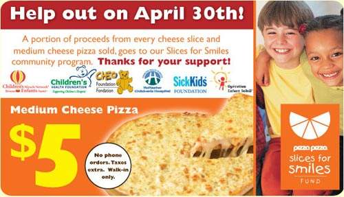 Pizza Pizza Medium Cheese Pizza $5 on April 30