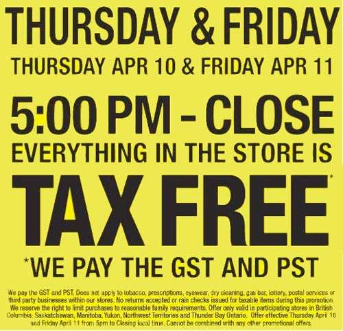 Real Canadian Superstore RCSS West: Tax Free Days