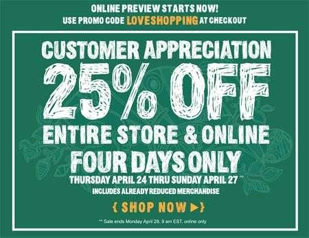 Roots Customer Appreciation: 25% off