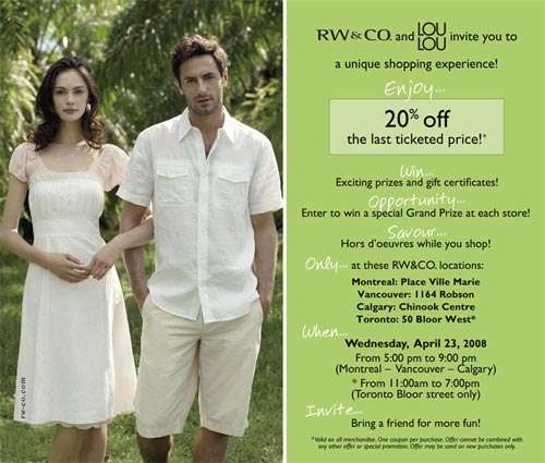 RW&Co Canada: 20% off Last Ticketed Price