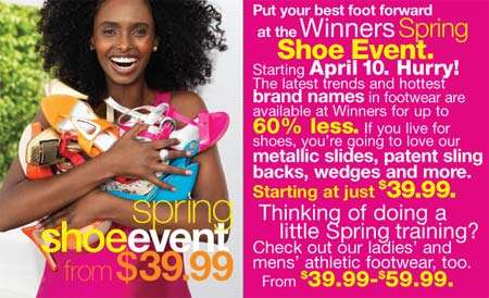 Winners Canada Spring Shoe Event: Up to 60%