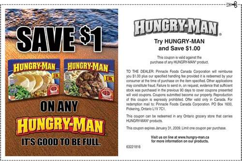 Hungry Man Meals Canada: $1 off Coupon