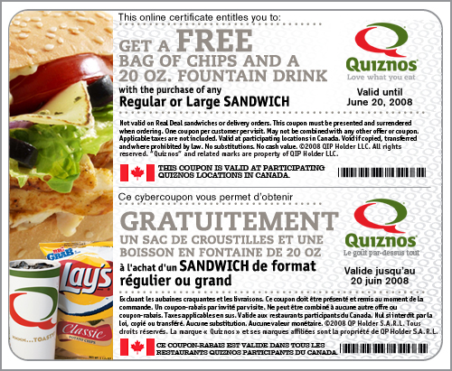 Quiznos Canada Coupon: Free Chips & Drink