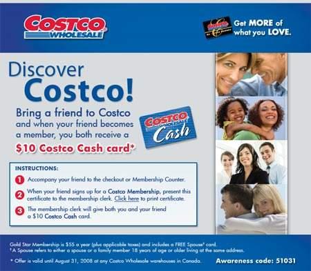 Costco Canada: Invite friend to Costco & Get $10 Gift Card