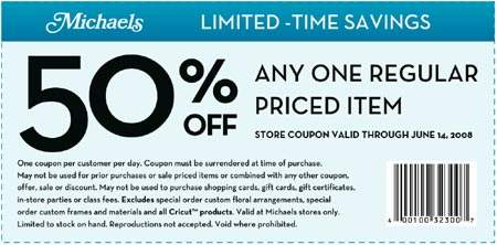 Canadian Coupons: Michaels 50% off Any One Reg. Priced Item