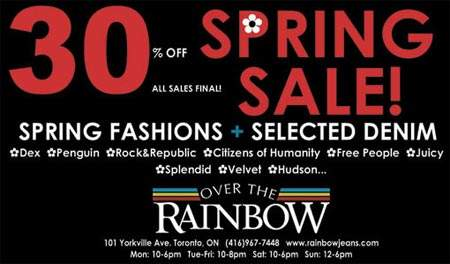Over The Rainbow Toronto Spring Sale