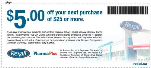 Rexall & PharmaPlus Coupons: $5 off $25