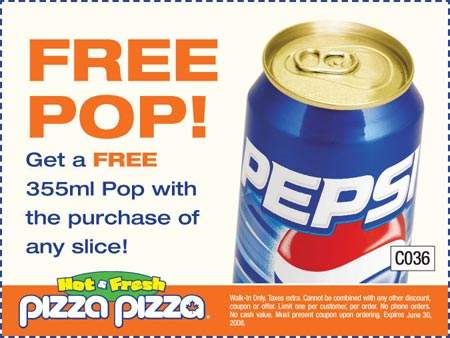Pizza Pizza Free Pop with Purchase of Any Slice