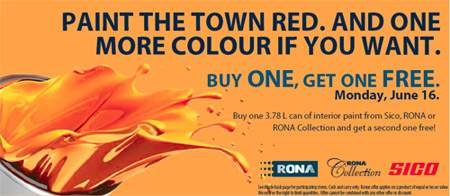 Rona Canada: Paint Buy 1 Get 1 Free