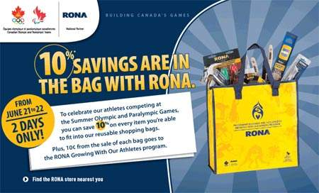 Rona Canada 10% Savings