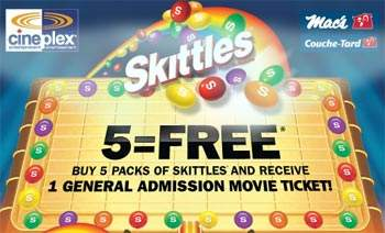 Free Cineplex Movie Ticket with Purchase of 5 Skittles Canada