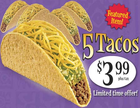 Taco Bell Canada: 5 Tacos for $3.99