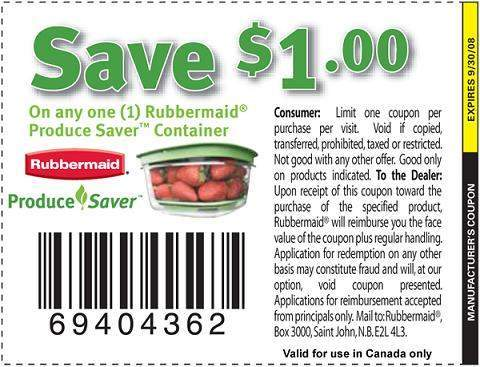 Canadian Coupons: Rubbermaid Produce Saver Container $1 off