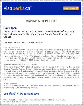 Banana Republic Canada Coupon 15% off Any Purchase
