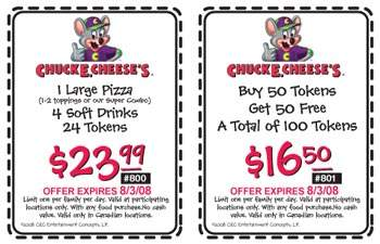 Chuck E Cheese's Canada Coupons