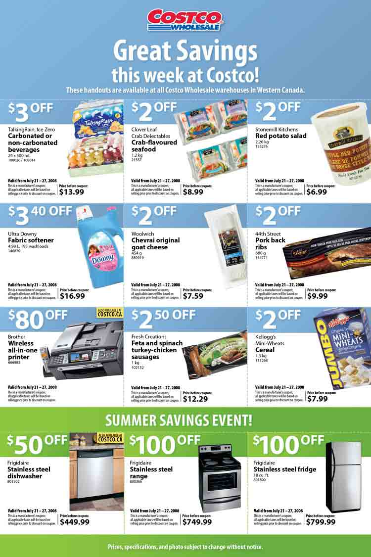 Costco Canada Flyer / Coupons: July 21 – 27, 2008 ...