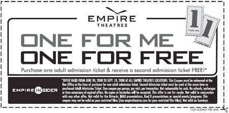 Empire Theatres Canada: Buy 1 Get 1 Free