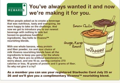 Starbucks Canada: Free Vivanno Drink on July 25 & 26