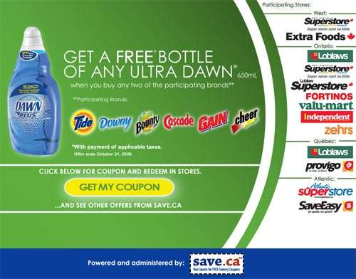 Coupon for Free Bottle of Ultra Dawn 650mL with 2 Purchases